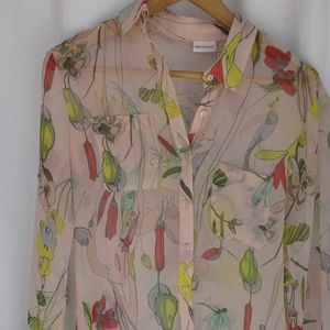 Floral Pink Sheer Blouse - S